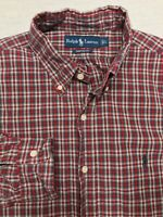 5279 POLO RALPH LAUREN Mens Large Button Up Down Shirt Plaid Long Sleeve Pony