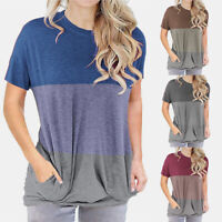 Women's Summer Casual Short Sleeve T Shirt Crew Neck Tops Loose Blouse Pocket US