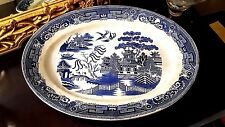 "Blue Willow Antique Turkey Serving Platter 19""x 13"" Oval Heavy Plate Tray Dish"
