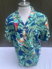 Vintage Paradise Found Magnum Pi Hawaiian Shirt Medium Flowers And Parrots