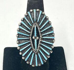 VTG Zuni Joyce Vacit Tsethlikai Sterling Turquoise Petit Point Ring Sz 8 (10.4G)