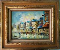 Vintage Oil Painting French Street Scene Signed Peters on canvas France