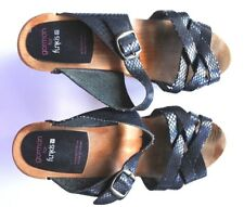 * GORMAN for Funkis * Sz 37 black snake print swedish clogs heel shoes!