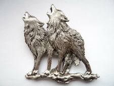 "Vintage Signed JJ ""Silver pewter Howling Wolves"" Brooch/Pin   Call of the Wild"