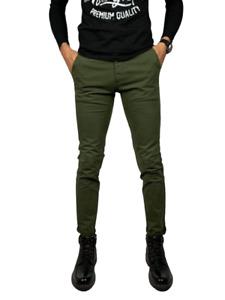 Pantalon Homme Coton Élastique Corsaire Chino Skinny Slim Fit Jeans Elégant