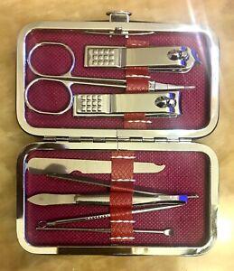 Nail Care 8 Piece Cutter Cuticle Clipper Manicure Pedicure Kit Case Gift Set US