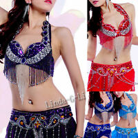 New Belly Dance 2 Pics costume 34B 36B 38B 40B 36D 38D 40D Bra+Belt 11/2 12/1