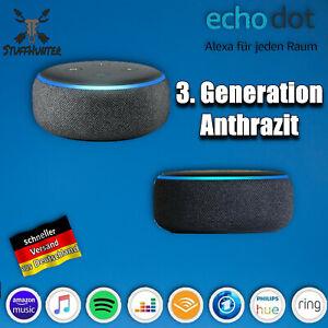 Amazon Echo Dot (3. Génération) WLAN Haut-Parleur De Alexa, Anthracite Neuf Ovp