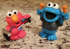 "2010 Hasbro Sesame Street Elmo Microphone PVC Figure 2.5"" &  COOKIE MONSTER DRUM"