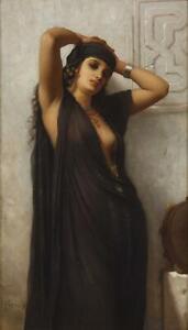Charles Zacharie Landelle Antique Oil Painting Portrait Orientalist Lady Signed