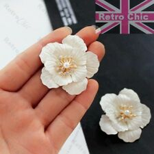 HUGE 4cm BIG FLOWER white enamel/gold fashion EARRINGS studs RETRO vintage chic