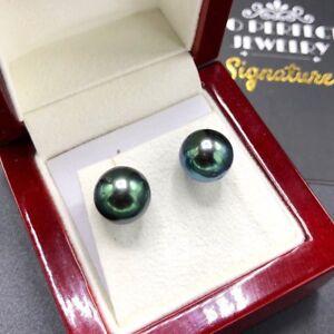 PEACOCK! TAHITI 11mm Pearls 18K white Gold Earrings stud Black South Sea Green