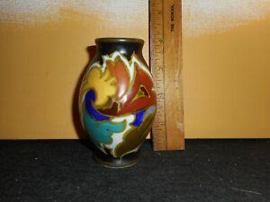 lovely little vintage Gouda pottery cabinet vase, Holland