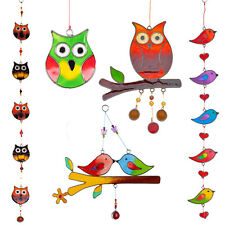 Birds Owls Colourful Light Glass Effect Hanging Suncatcher Kitchen Garden Mobile