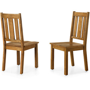 2Pcs Farmhouse Kitchen Dining Chairs Set Solid Wood Heavy Duty Natural Brown New