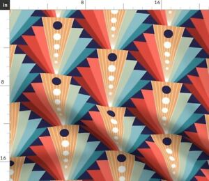 Art Decor Fans Abstract 1920S Coral Blue Graphic Spoonflower Fabric by the Yard