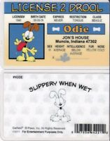 License to Drool of ODIE , Garfield the Cat 's Dog Pal drivers License id card