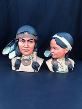 Hand Painted Indian Man Woman Bisque Statues Colorful Headress Feathers Decor