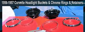 Corvette 1956 1957 Headlight Buckets w Brackets Chrome Headlight Trim Rings Set