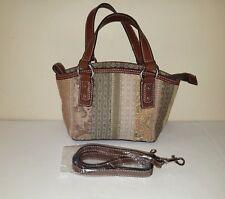 e163cfad97 FOSSIL Small Multi-Colored Textured Fabric Leather Stripe Handbag w Strap