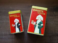 VTG RARE OLD TWO ANTIQUE DUTCH DROSTE COCOA CHOCOLATE CACAO ADVERTISING TIN BOX