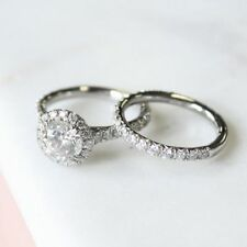925 Silver Engagement Ring Sets For Women 2.10 Ct Halo White Round Cut Diamond