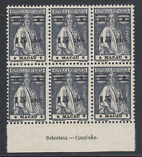 Macao Sc 266 MNH. 1933 15a surcharge on 16a dark gray Ceres, imprint block of 6
