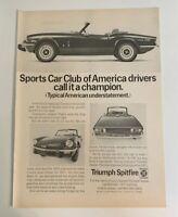 1971 Triumph Spitfire Mark IV Print Ad Advertisement Sport Car Club Of America