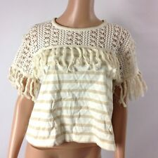 See By Chloe Womens Striped Fringed Jersey Crew Neck Eyelet Size M Tassel New