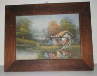quadro classico paesaggio dipinto olio su tela cornice in legno color noce 23x18