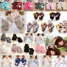 Winter Warm Knit Mittens Women Flip Half finger Plush Thick Cute Cat Claw Gloves