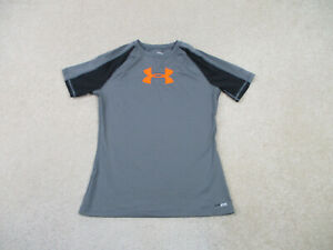 Under Armour Shirt Youth Extra Large Gray Orange Heat Gear Gym Athletic Kid Boys
