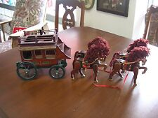 Christmas Wooden Stage Coach and 4 Horses Very Good condition