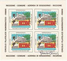 FOGLIETTO ERINNOFILO 1983 RICCIONE XXXV FIERA FRANCOBOLLO NON DENT FIRMATO CUMO