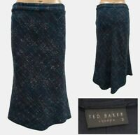 TED BAKER Boucle Skirt Size 2 / 10 UK Navy Wool Fish Tail Knee Length Skirt