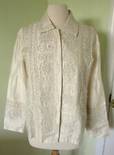 "NEW NWT COLDWATER CREEK IVORY ""WHIMSY"" EMBROIDERED JACKET MEDIUM M $159 Shantung"