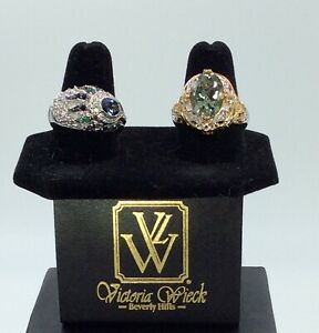 2 Victoria Wieck Sterling Silver Rings, Sapphire & Peridot, All Size 9, New