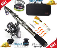Sougayilang Fishing Rod Combos with Telescopic Fishing Pole Spinning Reels Fi...