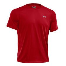 Magliette da uomo a mezza manica rossi in poliestere
