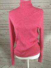 ISAAC MIZRAHI for Target Cotton Cashmere Sweater Sz. L Pink Turtleneck Ribbed A8