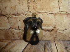 Blown Glass Christmas Tree Ornament Schnauzer Terrier Dog Puppy Head Face GERMAN