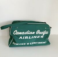 Canadian Pacific Airlines Vintage Small Bag Antique Green White 50's Aviation