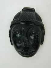 VTG Snowflake Obsidian Black Hand Carved Tribal Man Face Mask Spanish Pendant