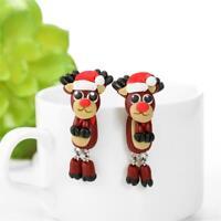 schöne mit haken weihnachten ohrringe ohr - hengst hirsch polymer clay