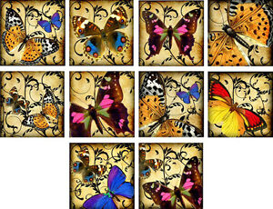 """10 vintage altered art butterfly deco 2"""" cards blank with envelopes organza bag"""