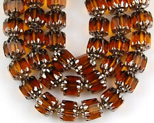 25 Czech Fire Polish Cathedral Topaz Silver Faceted Loose Glass Beads 6mm