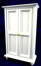 White Wardrobe Bedroom Furniture for dolls house, Miniature with shelves
