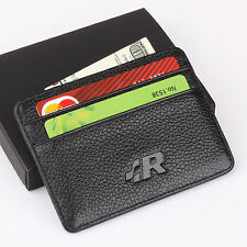 R VW Slim Mini Wallet 100% Genuine Cow Leather Credit Card Case Men Holder