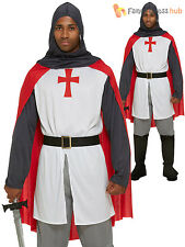 Mens Medieval Knight Fancy Dress Costume Adult St George England Outfit Medievil