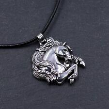 Antiguo Colgante Collar de plata tono galope caballo